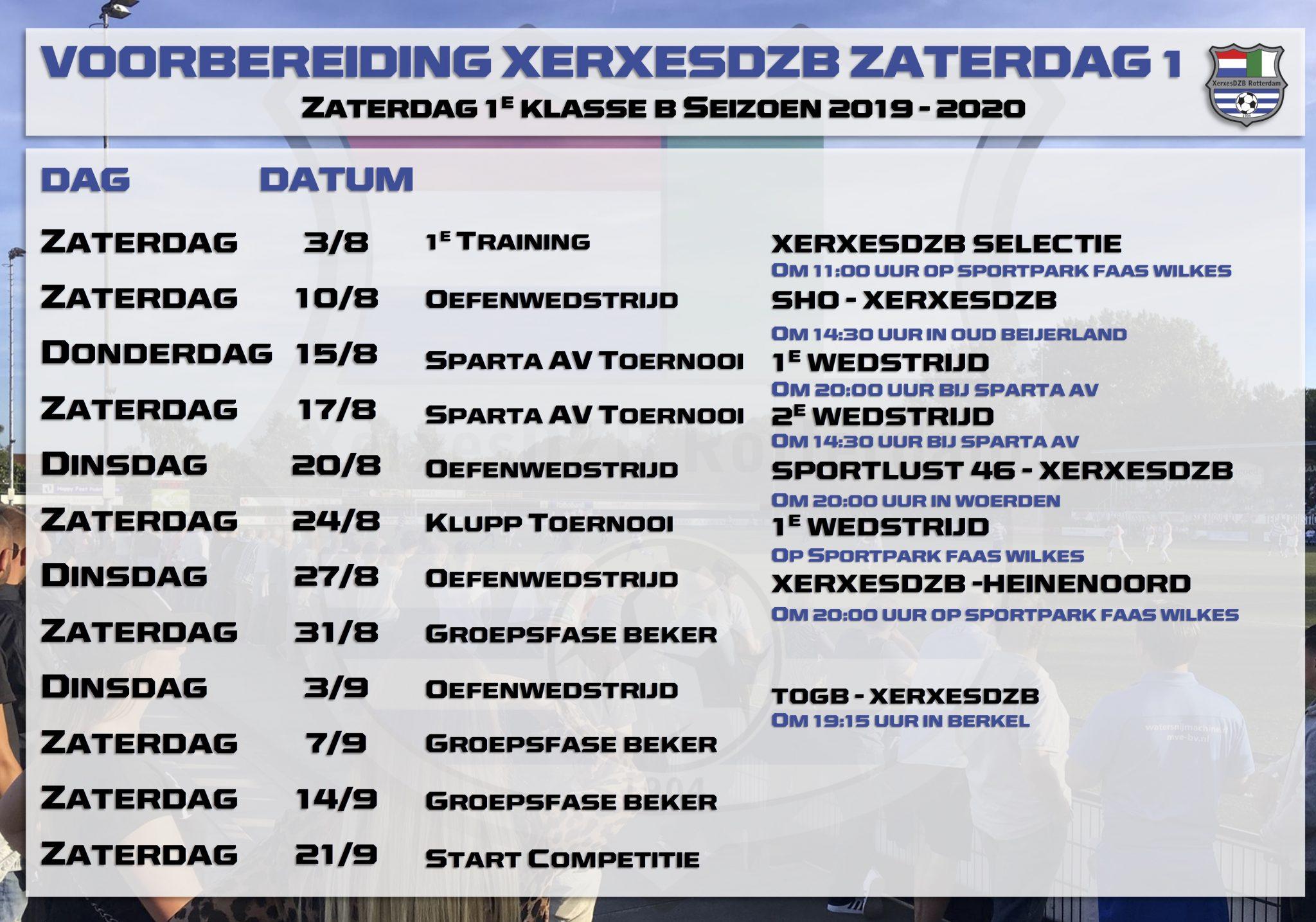 Programma voorbereiding XerxesDZB zaterdag selectie