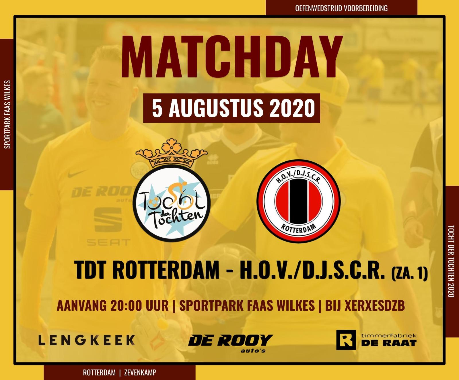 TDT Rotterdam speelt vanavond oefenwedstrijd tegen H.O.V.D.J.S.C.R bij XerxesDZB