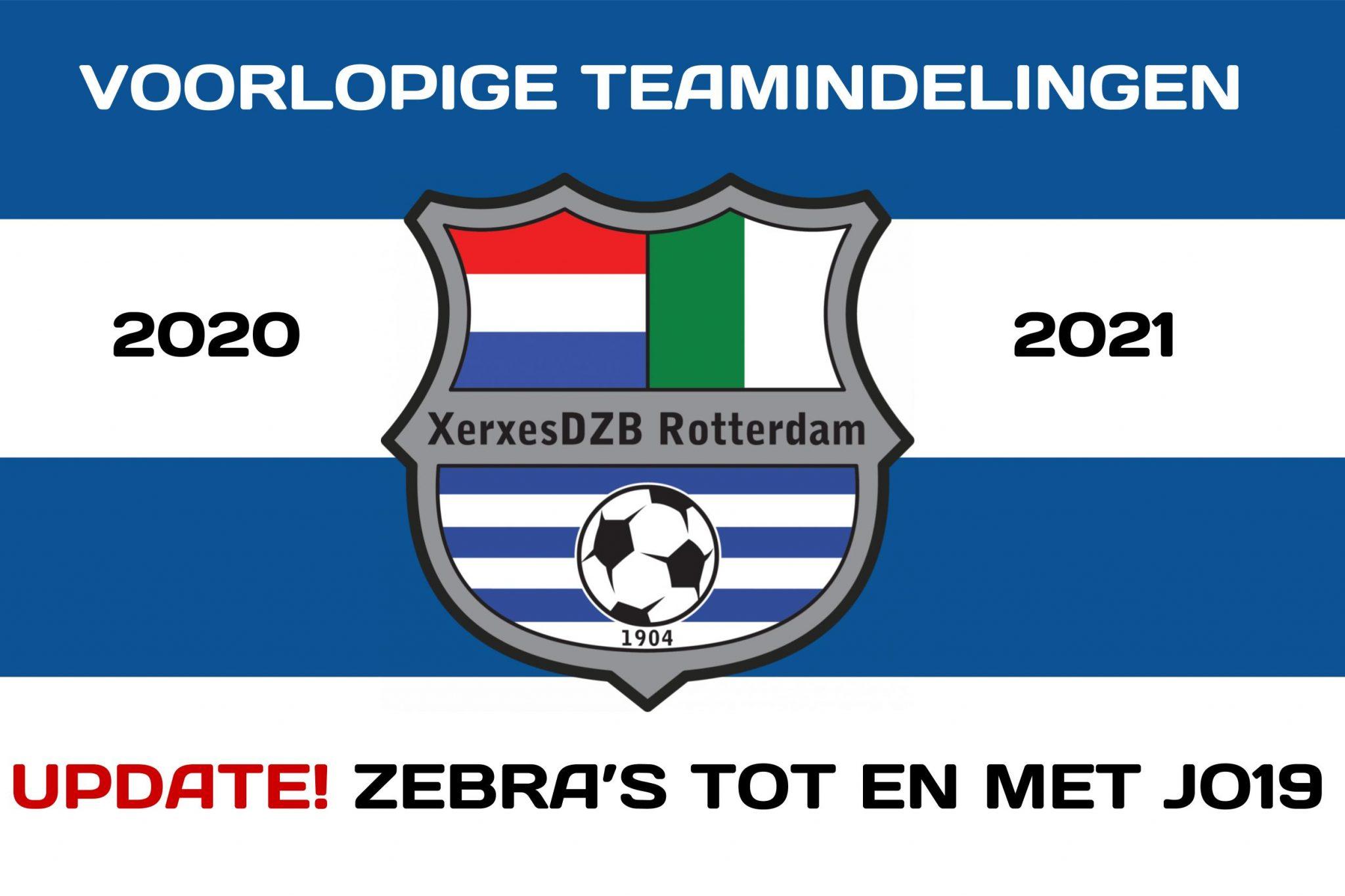 UPDATE 29 juni 2020! Voorlopige teamindelingen 2020-2021 voor Zebra t/m O19